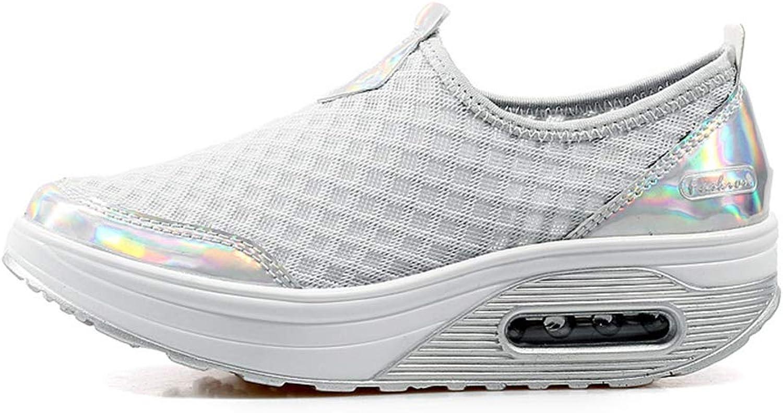 T-JULY Ladies Fashion Lazy Mesh Fabric Platform Wedge Flats Sneakers SWomen Swing Non Slip Casual shoes