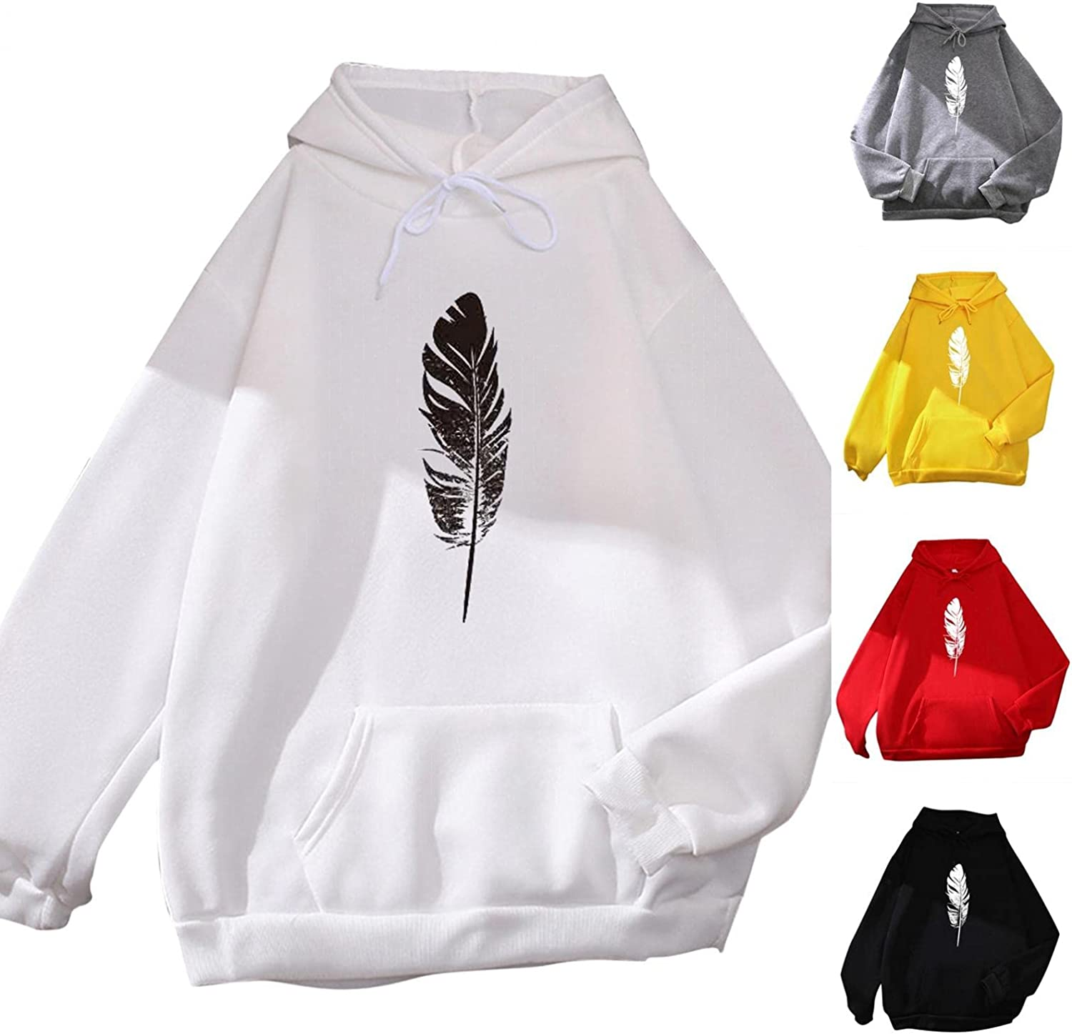 lucyouth Hoodies for Women Teens Girls Long Sleeve Casual Feather Pocket Cute Winter Clothes Pullover Sweatshirt Tops