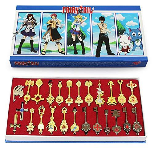 COSAUG Fairy Tail Lucy Set of 25 Golden Zodiac Keys &Chain