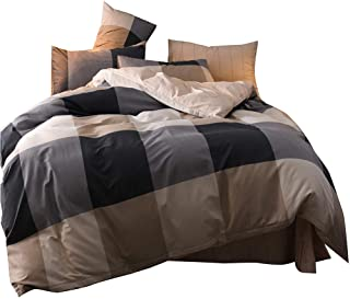 Reversible Cotton Plaid Bedding Set King Modern Soft Grid Checkered Duvet Cover Set Hotel Quality Luxury Bedding Collection 3 Piece Men Boys Comforter Cover Set with 2 Pillowcases