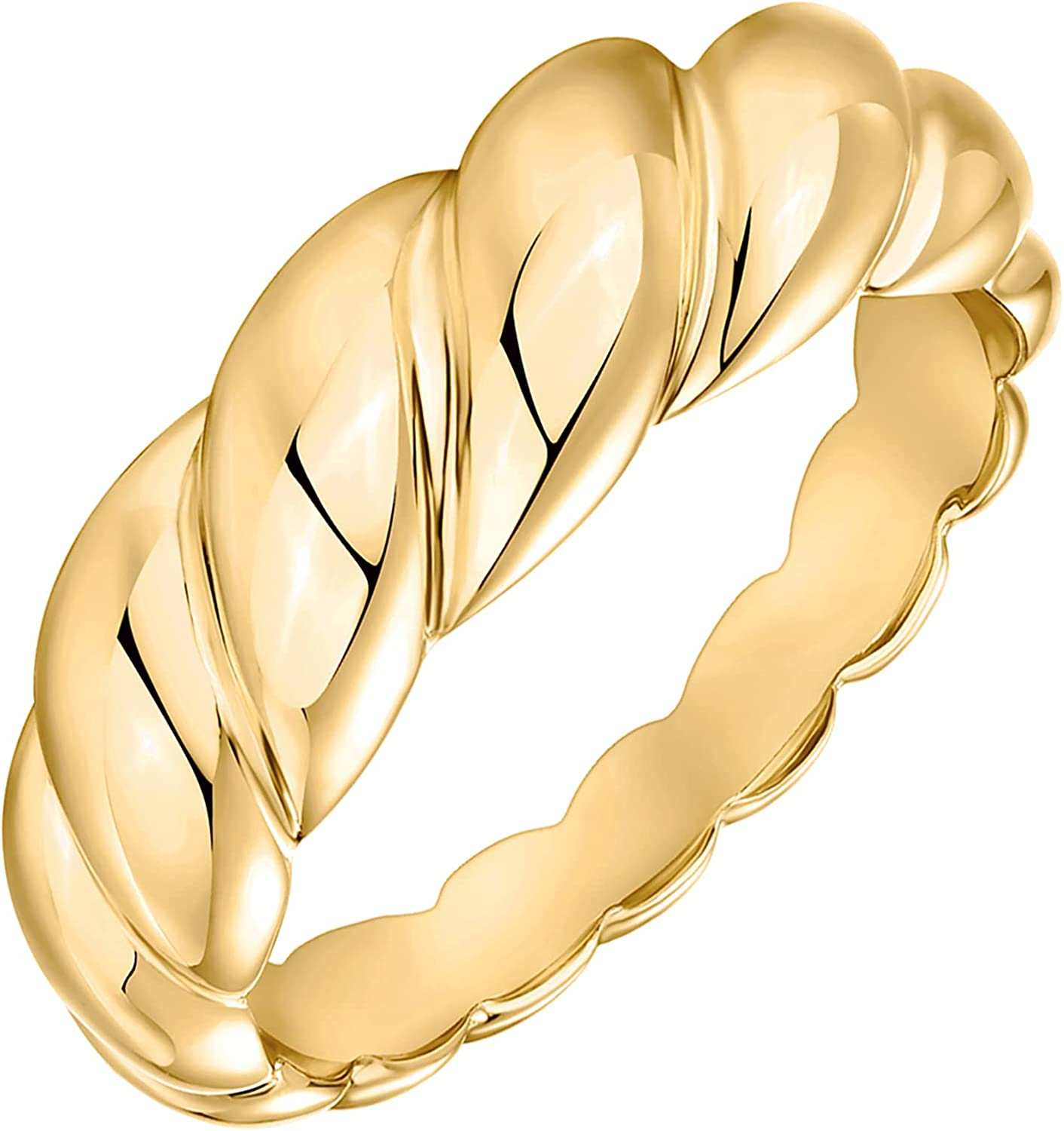 PAVOI 14K Gold Plated Croissant Dome Ring Twisted Braided Gold Plated Ring | Chunky Signet Ring