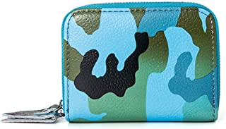 Camouflage Leather Card Holder Multi-Function Double Zipper Credit Card Holder RFID Anti-Theft Card Package ID Package (Color : Blue, Size : S)