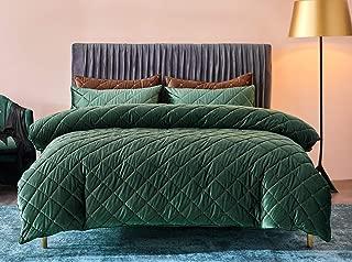 Deep Sleep Home 100% Velvet Soft Hand Feeling Solid Color Zipper Close No Inside 1pc Duvet Cover Set Twin/Full/Queen Size (DarkGreen, Twin Size)