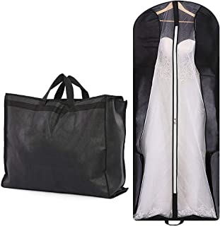 """70"""" Bridal Wedding Gown Garment Bag Extra Large Foldable Portable Travel Dress Cover Hanging Luggage with Pockets for Womens, 8"""" Gusseted Black"""