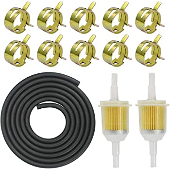 Benzinschlauch kit inkl Kraftstoffleitung 6mm 2M// Benzinfilter 6mm 2 St/ück//Schlauchschellen 10 St/ück f/ür PKW Auto Motorrad Rasenm/äher Roller