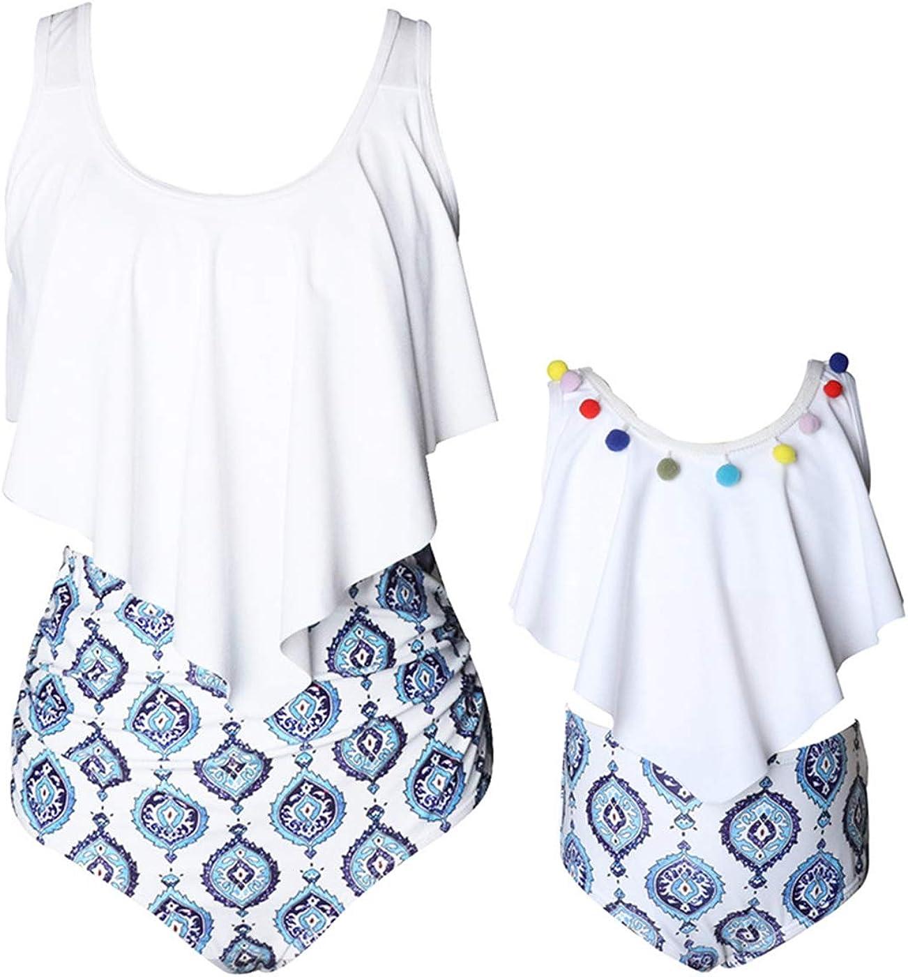 Family Matching Swimwear, PalmLeaves Printed Ruffle Tassel Bikini Tankini Set Mommy and Daughter Swimsuit