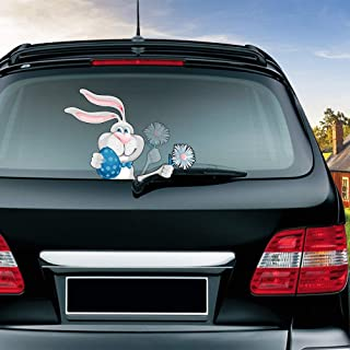 Helen-Box - Easter Bunny Waving Wiper Decals PVC Car Styling Rear Window Wiper Stickers Rear Windshield Stickers Car Stickers And Decals