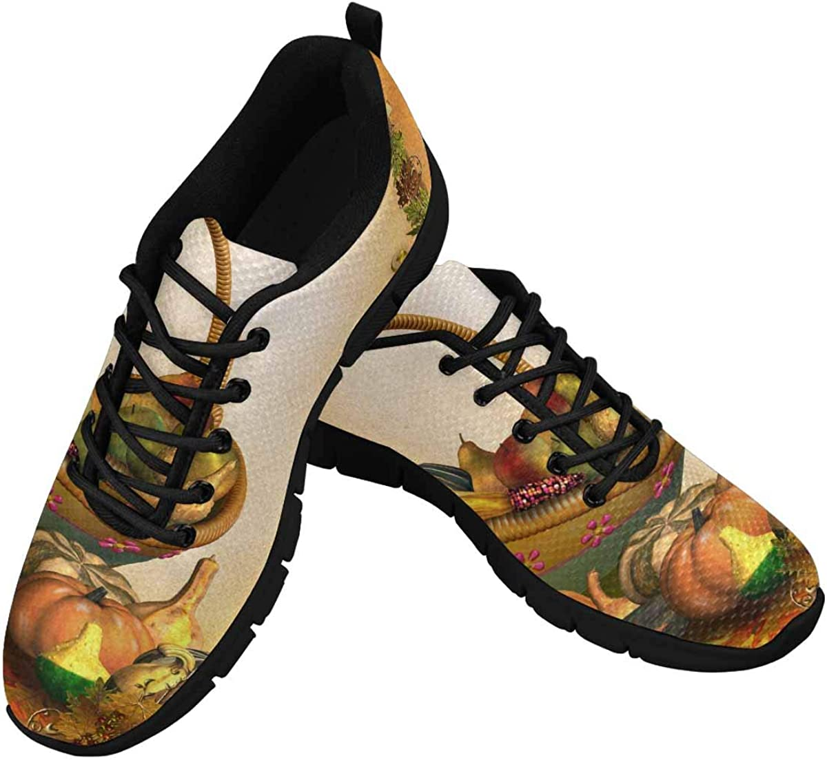 INTERESTPRINT Happy Thanksgiving Leaves Women's Athletic Walking Running Sneakers Comfortable Lightweight Shoes