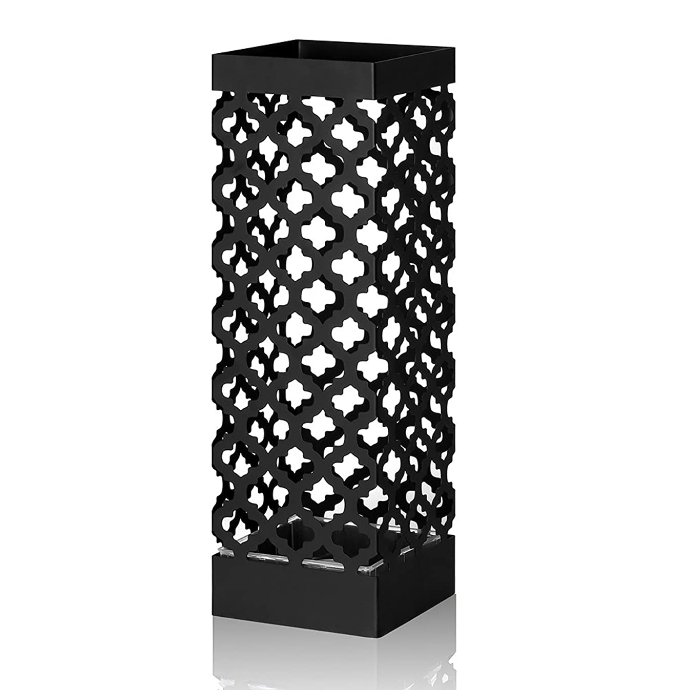 NEX Umbrella Stand Rack Metal Umbrella Holder For Home Office Decoration Drip With Tray and Hook Black(NX-DB030-2)