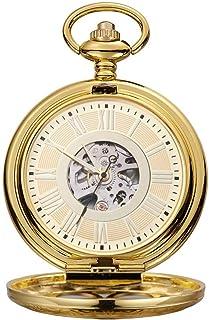 Lwieui Reloj de Bolsillo Reloj de Bolsillo mecánico Tipo Clamshell Grande Roman Carved Hollow Classic Machinery Gold (Colo...