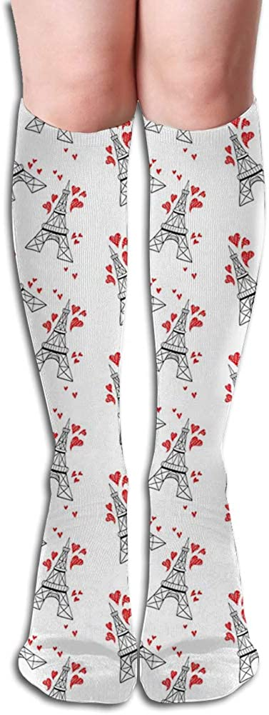 Men's and Women's Funny Casual Combed Cotton Socks,Hand Drawn Style Paris Landmark Towers with Sketchy Hearts Romance Love Travel