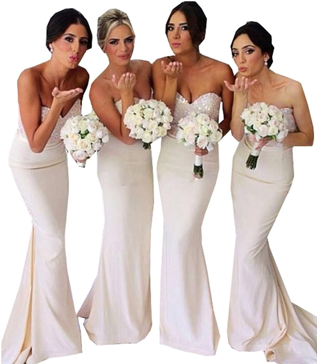 Half Flower Bridal Mermaid Bridesmaid Dress Lace Trumpet Evening Gown
