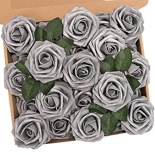 N&T NIETING Künstliche Blume, 25 Stück Deko Blumen Fake Rosen mit Stielen DIY Hochzeit Blumensträuße Braut Babydusche Party Zuhause Dekoration, Silber Grau