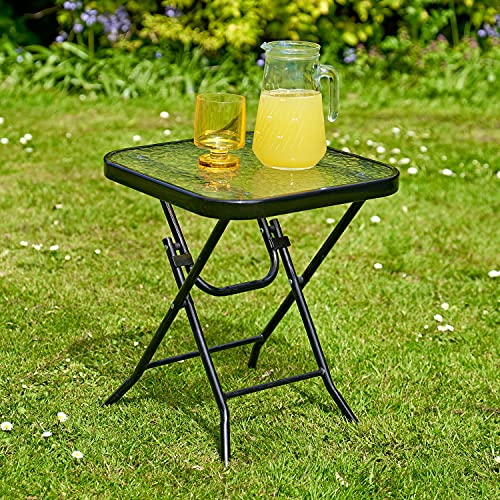 SA Products Folding Patio Table - Tempered Glass Top, Steel Tube Legs - Sleek Black Coating, Water Wave Design - Portable Outdoor Tables & Backyard Furniture for Garden or Porch & Balcony - 40x40x46cm