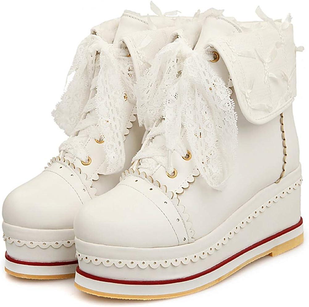 SaraIris Women's Cute Oklahoma SEAL limited product City Mall Platform Lolita Bro Boots Lace-up Cosplay
