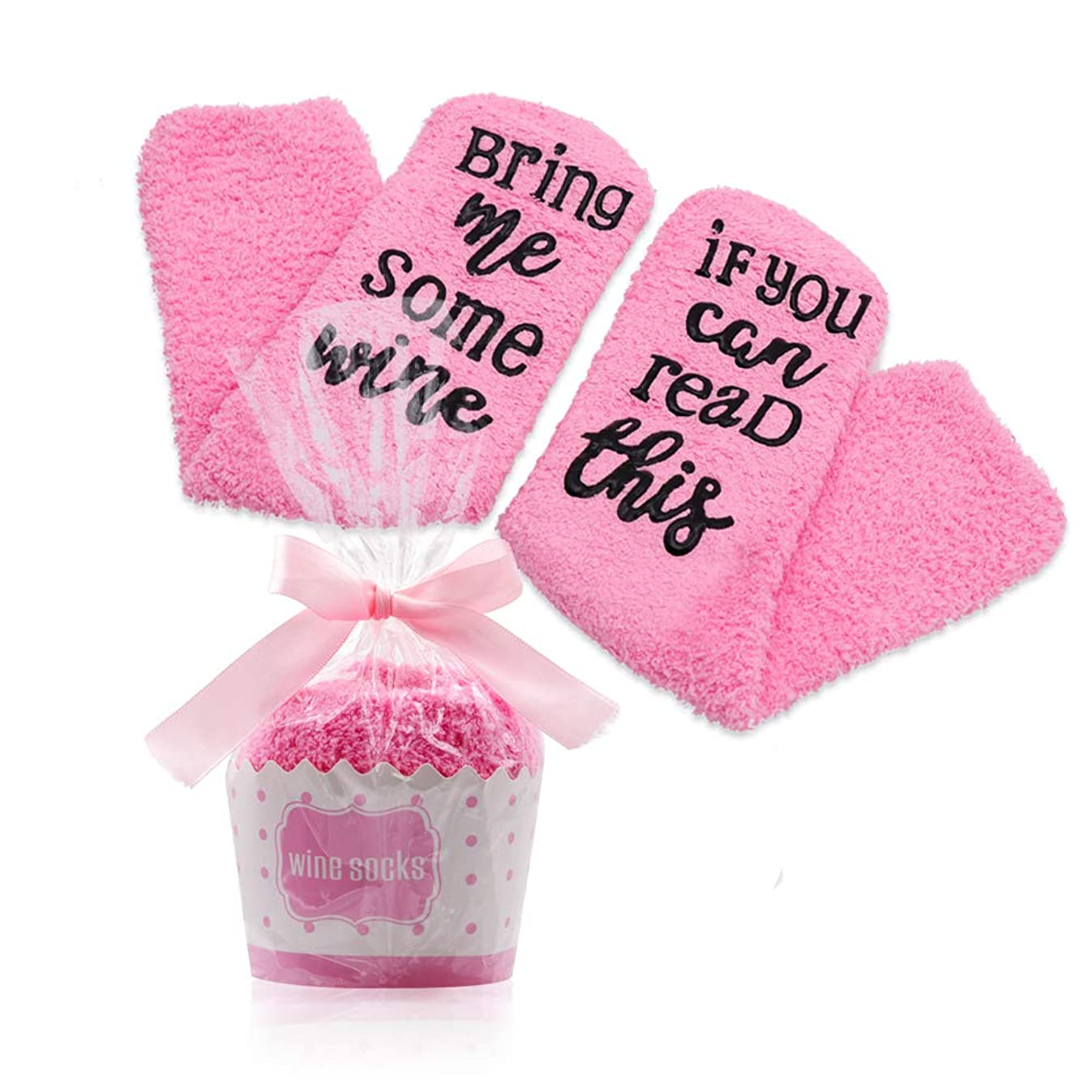 Nurkeen Wine Socks, Unique Wine Slippers for Women Medium, Soft Wine Gifts for Woman, Gift Socks with Cupcake Gift Packaging, Wine Socks Women love them - If You Can Read This Bring Me Some Wine Socks