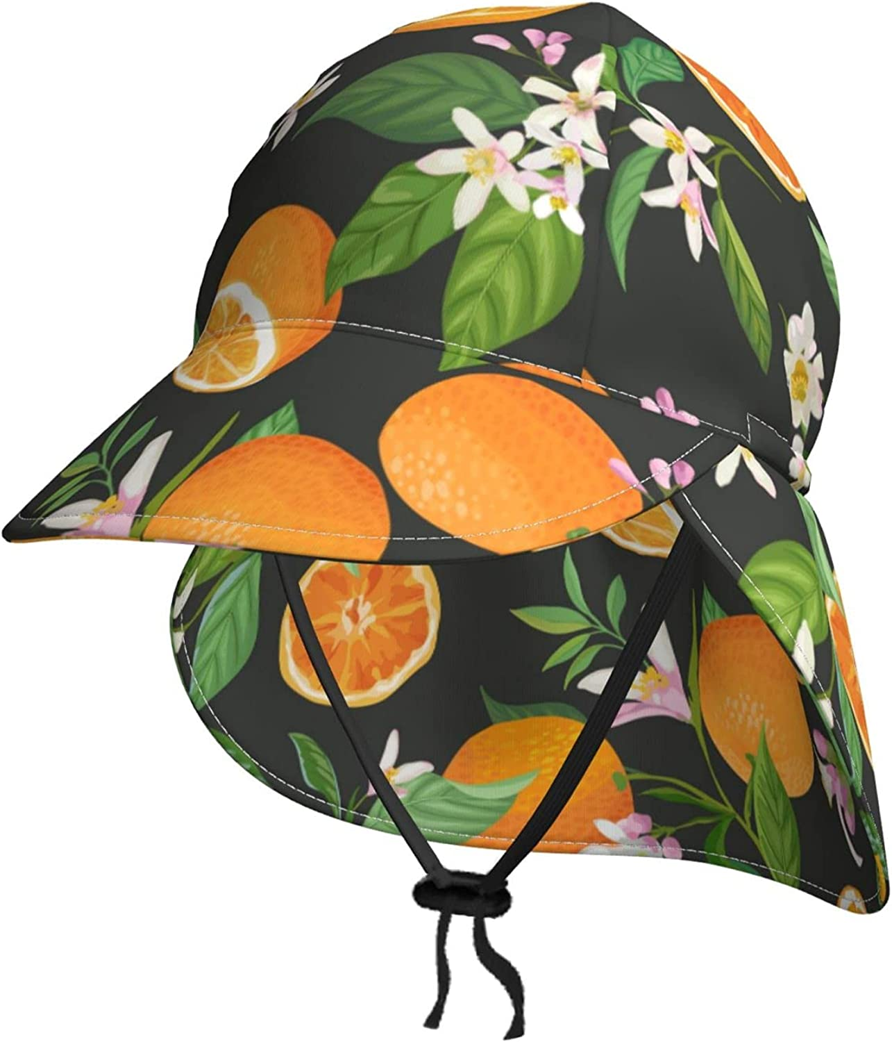 Tropical Max 81% OFF Fruit Slice Orange Brand new Kids Sun Neck Hat S Summer Flap with