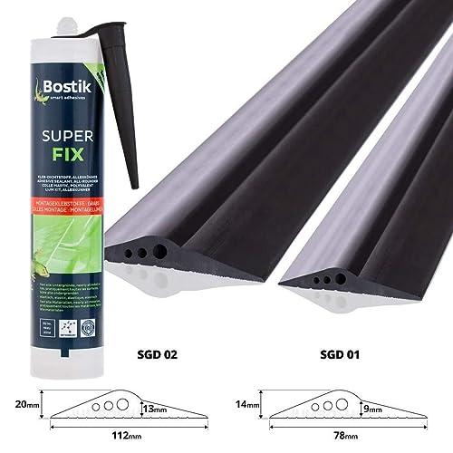 STEIGNER Garagentor Dichtung inkl. Montagekleber Bodenabdichtung aus EPDM, 2,5m, 14mm x 78mm, SGD01