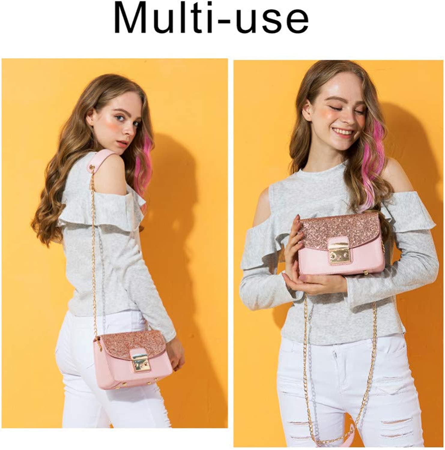 JQSM N Women Sequined Messenger Bag Quality Leather Women's Bag Chain Strap Female Shoulder Bag Lay Sbody Bags