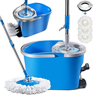 Mop and Bucket Set with Foot Pedal Masthome Microfiber Spin Mop for Floor Cleaning,33 Microfiber Mop Refills & 1 Floor Bru...