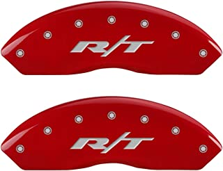 MGP Caliper Covers 12200SRT1RD Red Brake Covers Fits 2011-2019 Dodge Journey/Grand Caravan (Dual Piston Front Caliper) 'RT' Engraved (Front/Rear Covers; Set of 4)