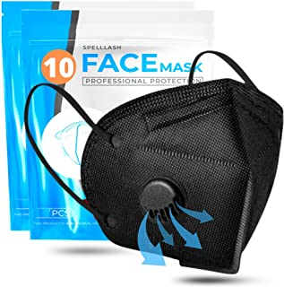 Face Mask Black with Breathing-Valve 10 Pack   Black Face Masks for Men and Woman 5 Layer Non-Woven   Disposable Face Mask for Protection   Sport Breathable Face Mask Lightweight and Comfortable on Skin