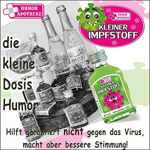 Kleiner Impfstoff Sofort Hilfe | Humormedizin | Scherzartikel für Erwachsene | Der erste Impfstoff gegen das Virus kommt aus unserer Humor Apotheke (Kleiner Impfstoff: – 20er Box Waldmeister-Likör -) - 5
