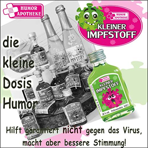 Kleiner Corona Impfstoff. | Humormedizin | Scherzartikel für Erwachsene | Der erste Impfstoff gegen das Virus kommt aus unserer Humor Apotheke (Kleiner Impfstoff: - 20 Box Pfefferminz Likör -) - 7