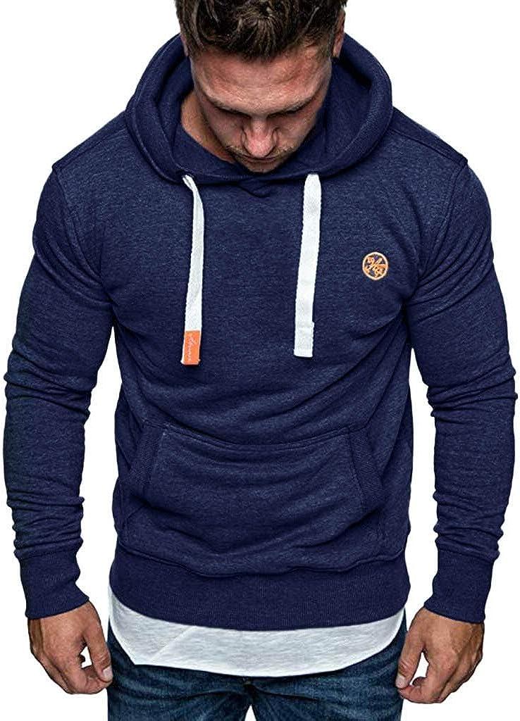 Misaky Hoodies for Men Autumn Winter Loose Solid Pocket Long Sleeve Pullover Hooded Sweatshirt Tops Outwear