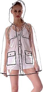 透明 大人 レインコート 女性 ブラック 薄くて軽い アウトドア 短いパラグラフ ポンチョ (サイズ : M)
