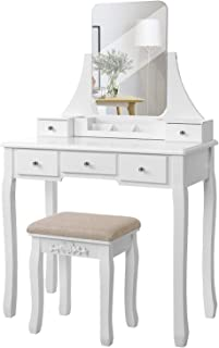 VASAGLE Vanity Table Set with Large Frameless Mirror, Makeup Dressing Table Set for Bedroom, Bathroom, 5 Drawers and 1 Removable Storage Box, Cushioned Stool,White URDT25W