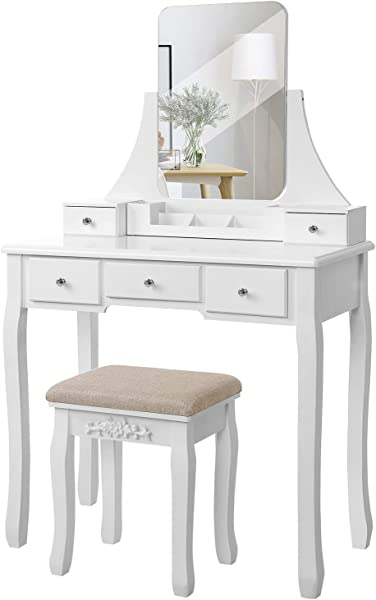 VASAGLE Vanity Table Set With Large Frameless Mirror Makeup Dressing Table Set For Bedroom Bathroom 5 Drawers And 1 Removable Storage Box Cushioned Stool White URDT25W
