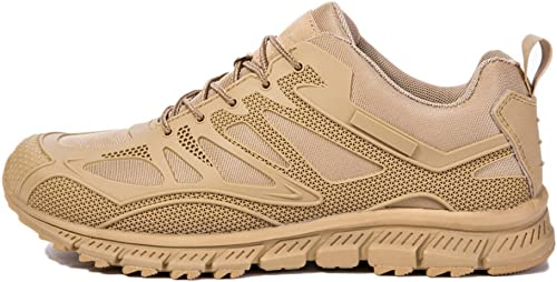 Nihiug Chaussures De Randonnée Hommes Imperméables Noir Léger Extérieur Low Cut Casual Chaussures De Sport en Cuir Forces Spéciales Militaires Bottes