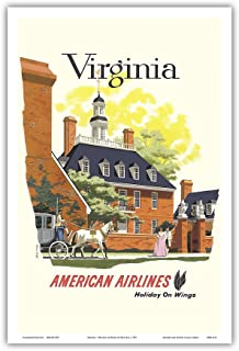 Pacifica Island Art Virginia - American Airlines - Holiday on Wings - Governor's Palace, Colonial Williamsburg - Vintage Airline Travel Poster Bern Hill c.1957 - Master Art Print - 12in x 18in