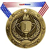 Decade Awards 1st Place World Class Engraved Medal, Gold - 3 Inch Wide First Place Medallion with Stars and Stripes American Flag V Neck Ribbon - Customize Now