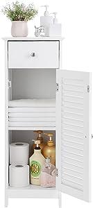 VASAGLE Wooden Bathroom Floor Cabinet Storage Organizer Set Free Standing Corner Unit with 1 drawer and 1 Cupboard Shutter Door White BBC43WT