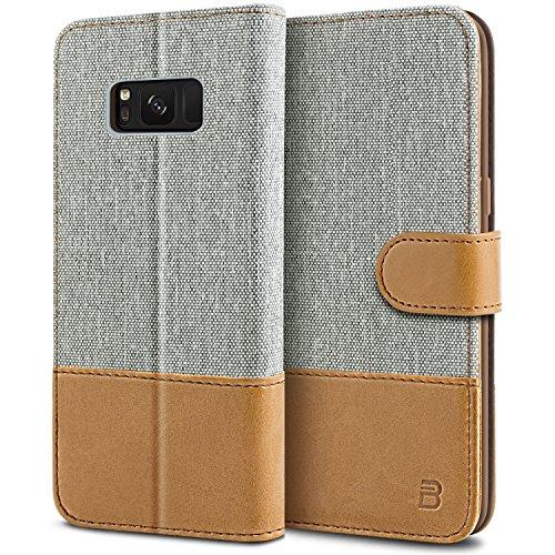 BEZ Funda Samsung Galaxy S8, Carcasa Compatible para Samsung S8, Libro de Cuero con Tapas y Cartera, Cover Protectora con Ranura para Tarjetas y Billetera, Cierre Magnético, Gris