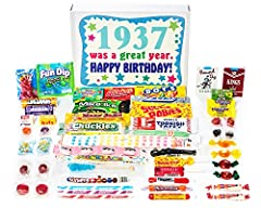 """Contains 40 kinds of candy an 83 year old will remember from their youth Box reads """"1937 was a great year. Happy Birthday!"""" Makes a great gift for someone who has everything A great conversation piece of days gone by Comes shrink wrapped in a box tha..."""