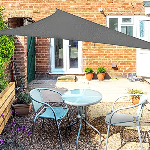 OKAWADACH Sonnensegel Dreieck 2x2x2m, 95% UV Schutz Polyester Sonnensegel Wasserdicht inkl Befestigungsseile Sonnensegel Sonnenschutz für Garten Balkon und Terrasse, Grau