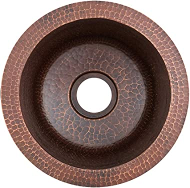 Premier Copper Products BR10DB2 10-Inch Round Hammered Copper Bar Sink w/ 2-Inch Drain Opening