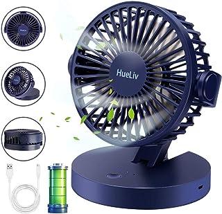 HueLiv Ventilador de Mesa, Ventiladores USB con Batería Recargable Ventilador Pequeño de Plegable Ventilador Silencioso con Fuerte Flujo de Aire, 3 Velocidades Ventilador Mesa para Casa Oficina