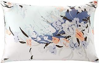 ZIMASILK 100% Natural Silk Pillowcase for Hair and Skin Health, Both Side Silk,Floral Print, 1pc (King 20''x36'', pattern7)