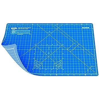 ANSIO Base de corte A3 doble cara auto curación 5 capas para Costura y Manualidades - Imperial/métrica 17 pulgadas x 11 pulgadas / 42 cm x 27 cm - Azul verdadero/Cielo azul: Amazon.es: Hogar