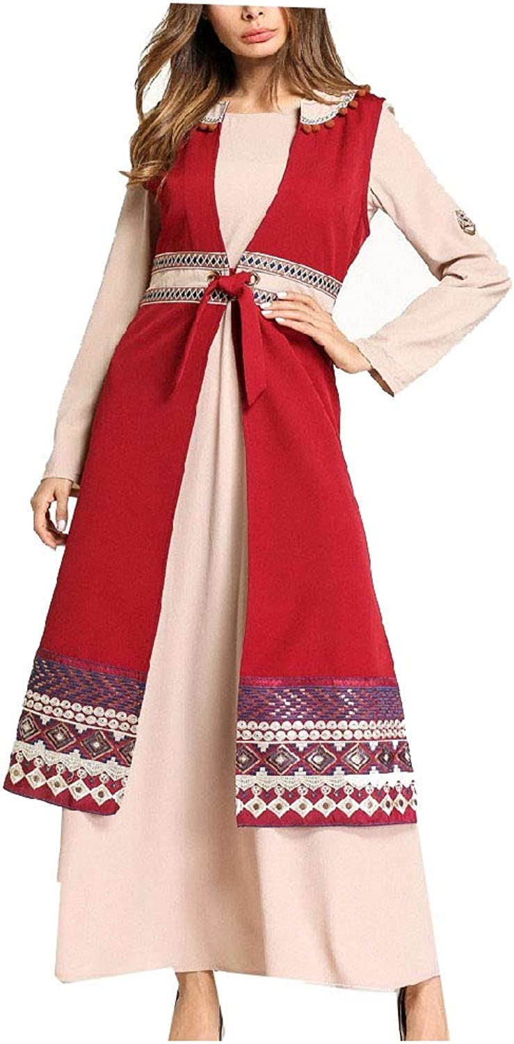Zimase Women Embroidery Muslim 2 Piece Eid alFitr Long Dress Abaya
