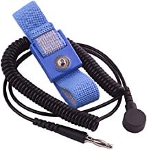 StaticTek WB1600 Series Anti Static ESD Accessories Single Wire Grounding Wrist Band Blue Fabric Wrist Straps and Coil Cord Set for ESD Work Surfaces - 12' Cord and 4mm Snap Size, (1 Set)