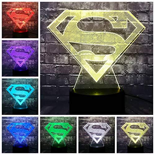 Veilleuse Cartoon Superman Batman Logo 7 Couleur Usb Charge Led Décor De La Chambre Ambiance Table Night Light