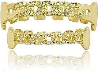 Gioielli Moca Hip Hop Unisex placcato in oro 18 carati Ghiacciato CZ Diamante simulato Top Bottom Denti Hollow Grill Set p...