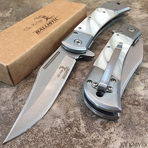 "8.5"" ELK RIDGE BALLISTIC Spring Assisted Open Folding Pocket Knife WHITE PEARL"