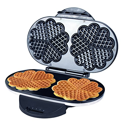 ZZ Double Heart Waffle Maker with Non-Stick Plate...