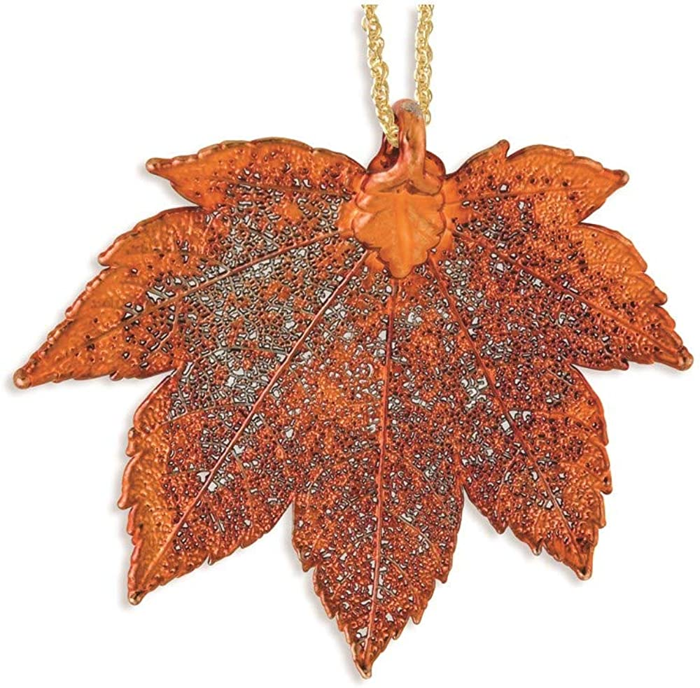 ICE CARATS Iridescent Copper Dipped Full Moon Maple Leaf 20 Inch Gold Tone Chain Necklace Pendant Charm Tree Fashion Jewelry for Women Gifts for Her